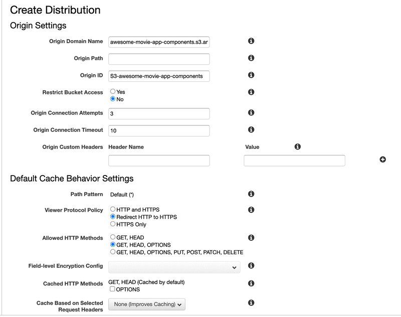 Cloudfront Distribution Creation - 1 Screenshot